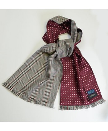 Dark Grey, Cream and Red Town and Country Scarf in Fine English Wool backed with Spot Pattern Printed Silk