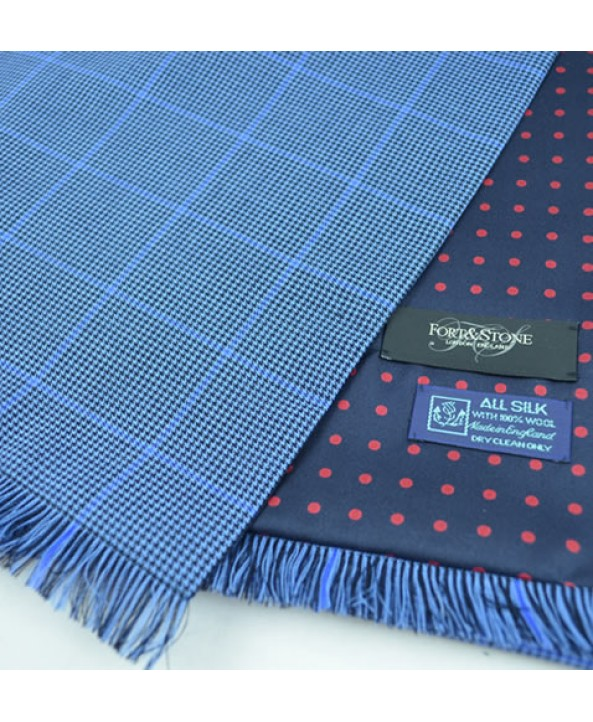 Blue Herringbone Check Town and Country Scarf in Fine English Wool backed with Spot Pattern Printed Silk