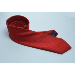 Fine Silk Spotted Tie with Blue Polka Dot Spots on Bright Red
