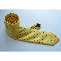 Fine Silk Spotted Tie with Blue Polka Dot Spots on Light Yellow