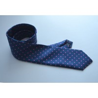 Fine Silk Spotted Tie with Pink Polka Dot Spots on French Blue