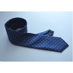 Fine Silk Spotted Tie with Pink Spots on French Blue