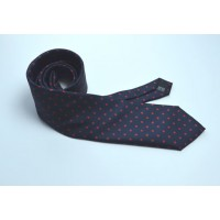 Fine Silk Spotted Tie with Red  Polka Dot Spots on Navy Blue