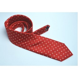 Fine Silk Spotted tie with White Spots on Scarlet