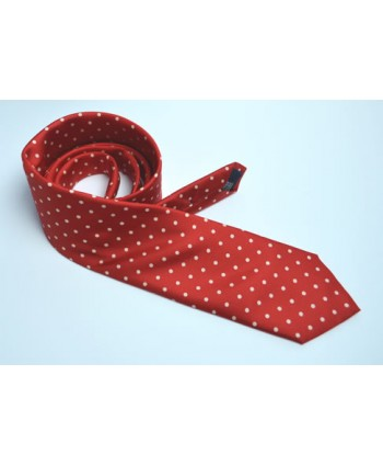 Fine Silk Spotted tie with White Polka Dot Spots on Scarlet
