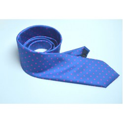 Fine Silk Spotted Tie with Pink Spots on Mediterranean Blue
