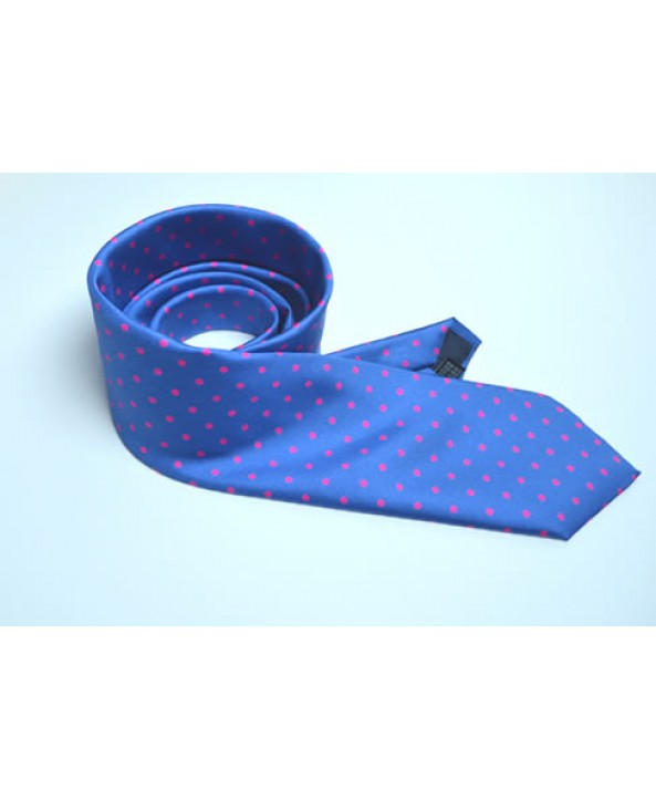 Fine Silk Spotted Tie with Pink Polka Dot Spots on Mediterranean Blue
