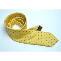 Fine Silk Spotted Tie with Blue Polka Dot Spots on Golden Yellow