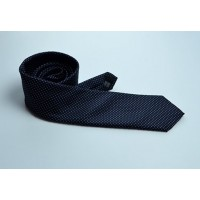 Fine Silk Spotted Tie with White Pin Dots on Navy Blue