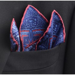 Fine Silk Bordered Paisley Hank in Navy and Wine