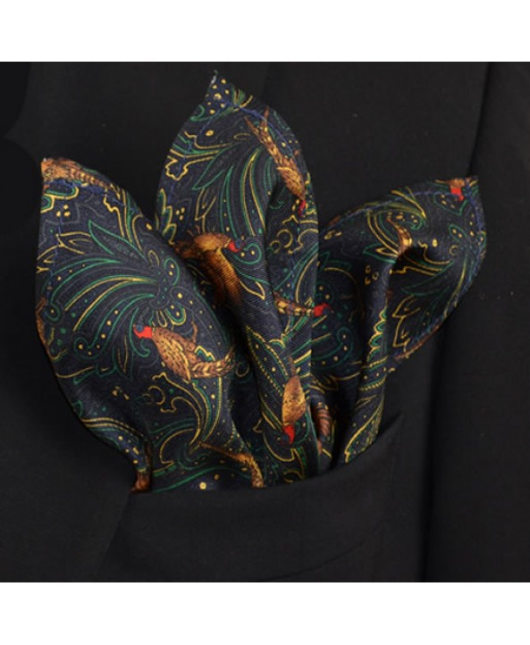 Fine Silk Pheasant and Paisley Pattern Hank in Navy