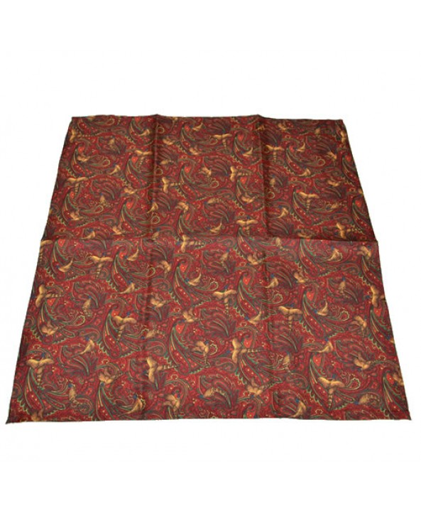 Fine Silk Pheasant and Paisley Pattern Hank in Red