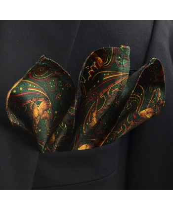 Fine Silk Pheasant and Paisley Pattern Hank in Green