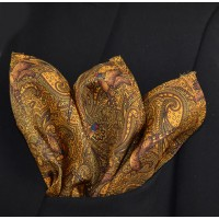 Fine Silk Pheasant and Paisley Pattern Hank in Gold